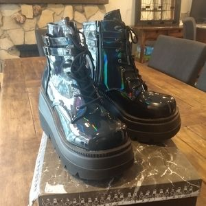 Demonia Black Hologram Boots